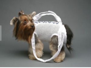 WHITE open weave pet small dog carrier harness sling puppy purse XS/S