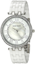 New Anne Klein AK/2131WTSV White Ceramic Crystal Silver Tone Women's Watch