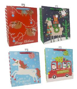 Large Christmas Gift Bags Sloth Unicorn Llama Trendy Designs 4 Bags for Kids
