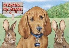dog pup hound rabbits bunnies animals ACEO limited art print by Karen Romine KR