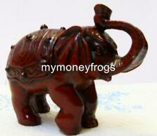 RED Wood Tone Chinese Oriental Feng Shui Lucky Trunk Up Elephant Figurine #SR1