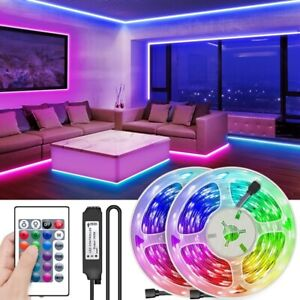 LED Strip Lights 5050 RGB Colour Changing Room Kitchen TV Lighting Tape 5M-30M