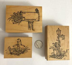 Lot of 3 Vintage Rubber Stamps Mailbox Lightpost Water Spigot Art Impressions