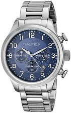 $175 Nautica Mens N17664G BFD 101 Silver-Tone Stainless Steel Watch Authentic