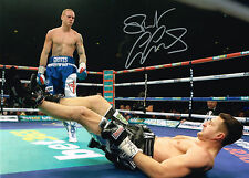 PHOTO PROOF GEORGE GROVES HAND SIGNED PHOTO COA BOXING CARL FROCH KNOCK DOWN