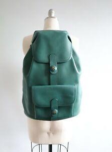 Authentic 1995 HERMES Sac Baden Backpack Green Vert Ardennes Leather Vintage