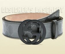 GUCCI pewter 44-110 GG IMPRIME plastic INTERLOCKING G buckle belt NWT Authentic!