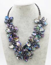 """freshwater pearl black sea shell flower  18"""" necklace nature wholesale beads"""
