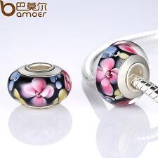 Lampwork Flowers Series European Murano Black Beads For Charm P Bracelet Jewelry