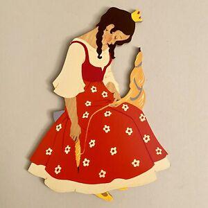 Märchen-Holzbild ALT 1960er 21cm Hellerkunst Blumenkleid-Dornröschen Figur 🎁
