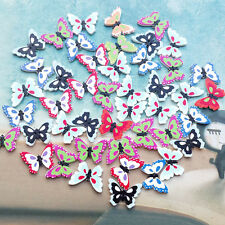 50 PCS Butterfly Wooden Buttons Sewing Accessories Flatback Scrapbooking Craft