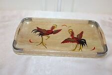 Beautiful  Red Rooster Chicken Wood Tray Hand Painted Wooden