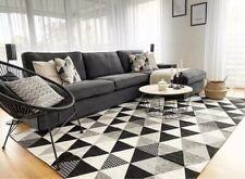 Tappeto Moderno Lavabile 140x200 Cotton house Grigio Nero Triangoli
