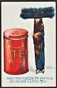 TEA & TEA CADDY Comic postcard Fred Spurgin