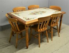 Pine Dining Table & 6 Chairs Tile Top Nicola Fasano Grottaglie Italy Delivery