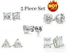 925 Sterling Silver Cz Stud Earrings Cubic Zirconia Women 5Pc Earrings Set