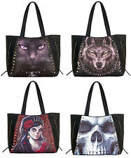 SPIRAL DIRECT Tote Bag PU Leather Black Cat/Wolf Dream/Solemn Skull/Day of Dead