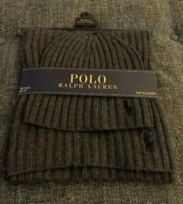Nwt Polo Ralph Lauren Hat And Scarf Set One Size Gray Black Cable $99 Beani BB2