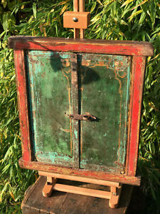 Antique Indian Temple Shuttered Window Hand Painted Late Circa 1890 Very Rare A