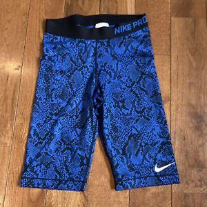 "Womens Nike Pro Dri Fit Fitted Shorts Blue Black Snakeskin Sz M/ 11"" Inseam"