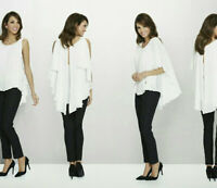 Katherine Barclay Women's Pleated Cape Blouse Top White Size Medium -J26