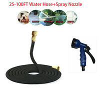 Stainless Steel 25-100Ft Lightweight Flexible Garden Water Hose+Spray Nozzle