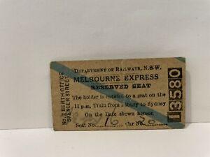 NSWGR Railway Reserved Seat Ticket Melbourne Express Spencer Street 1949
