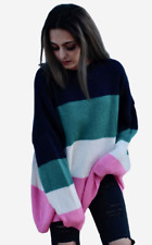 New ex ASOS Chunky Lightweight Jumper in Bright Block Stripe RRP£32 Sizes 4 - 26