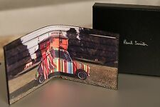 NUOVO Paul Smith Wallet Mini Cooper Langham Hall a più righe in pelle nera