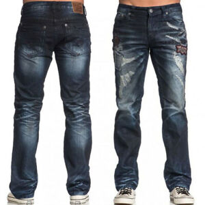 Affliction Blake Liberty Holes Moto Patch Mens Straight Jeans Blue Redwood 36 38