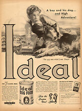 1940s vintage Ad IDEAL Dog Food  Art, A Boy and his Dog Collie Lassie 050817