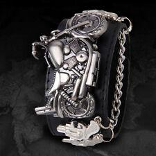 Mode Damen Herren Biker Breit Armband Punk Gothic Motorrad Quartz Uhr Leder