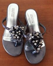 "KENNETH COLE REACTION ""Love Story"" Dark Gray w/ Silver Beads Sandals Size 6M"