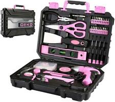 DEKO Pink 98 Piece Tool Set,General Household Hand Tool Kit with Plastic Toolbox