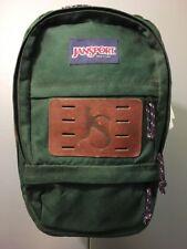 Vtg Jansport Backpack Tote Bag Day Pack Green Nylon Leather Breifcase Laptop Bag