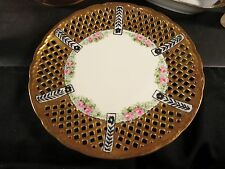 "Victoria Austria Hand Painted Art Deco Reticulated 8"" Plate"