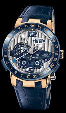 "Ulysse Nardin El Toro ""BLUE"" Perpetual Calendar GMT ± Rose Gold 43mm 326-00 RARE"