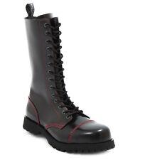 Boots & braces 14 BUCHI Stivali e Rangers nero con cucitura rossa NUOVO