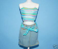 Playful! Denim Mini-Skirt & Teal Striped Halter Top Outfit Genuine Barbie