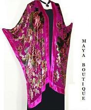 Silk Caftan Kimono Jacket Velvet Fuchsia Multi Gypsy Rose No Fringes Maya