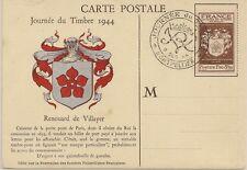 CARTE POSTALE MAXIMUM JOURNEE DU TIMBRE 1944 RENOUARD DE VILLAYER