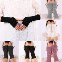 Unisex Women Ladies Durable Fingerless Gloves Warm Gloves Knitted Winter Warm