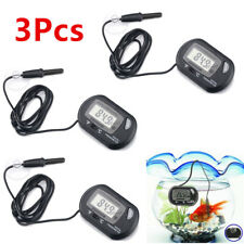 3Pcs Aquarium Fish Tank Water Temperature Lcd Digital Thermometer Monitor Black