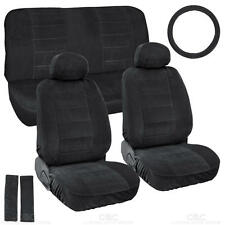 Black Full Cloth Encore style 3mm Premium Car Seat Covers Low Back 9 pc