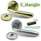 Maniglia (coppia) per porte interne in cromo satinato (a richiesta anche ottone)