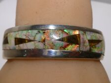Unique GL Miller Studio Opal Channel Mosaic Inlay 925 Sterling Cuff Bracelet