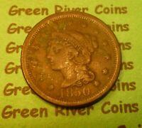 1850  U S Braided Hair Large  Cent   #50-2       (1839-1857)
