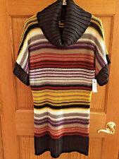 Tiana B Cowl Neck Sz M Short Sleeve Striped Sweater Dress Tunic NWT bx19