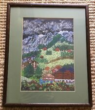 Vintage Japanese Influence Pastel Drawing Signed Keiko Yokota Mountain Villas