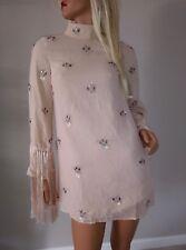 new ASOS adorable fringe tassel sleeve embellished beaded mini tunic dress us 2